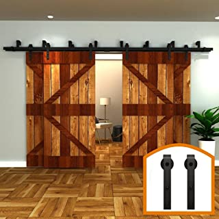 ZEKOO 12 FT 4 Doors Bypass Barn Door Hardware Four Hangers Style Roller Kit