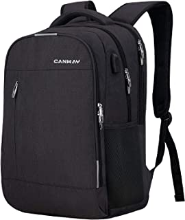 Travel Laptop Backpack for Women/Men 15.6-Inch College School Backpack with Laptop Compartment and USB Charging Port, Anti Theft & Water Resistant Travel Business Backpack/Computer Bag - Black