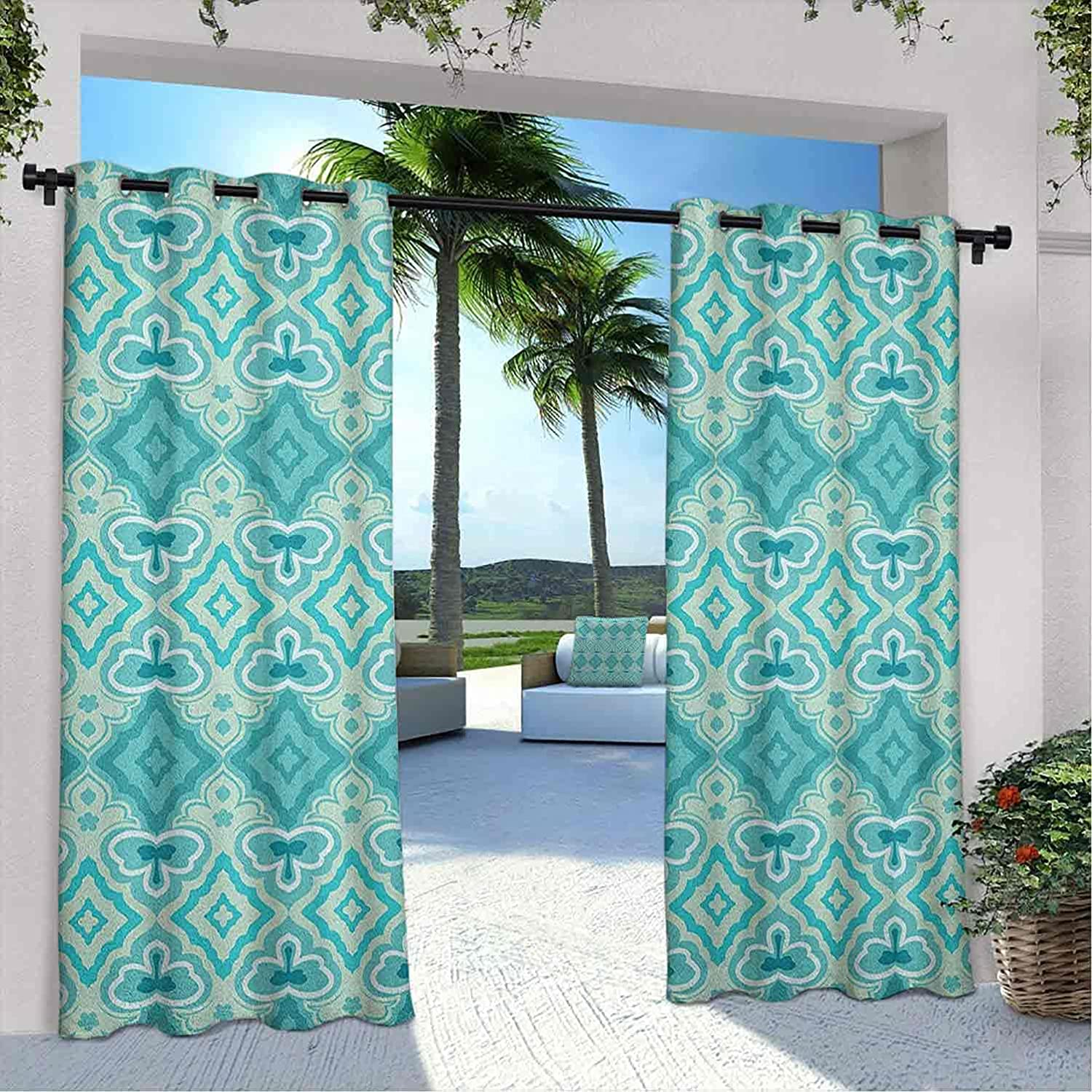 Outdoor Privacy Teal Curtain Max 64% OFF Abstract in Choice Geometric Vint Pattern