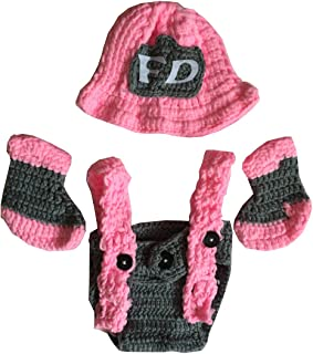 Ufraky Newborn Baby Pink Crochet Knitted Firefighter Hat Suspenders Boots Photography Photo Props