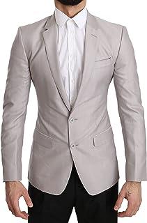 Dolce & Gabbana Silver Wool Slim Fit Jacket Coat Blazer