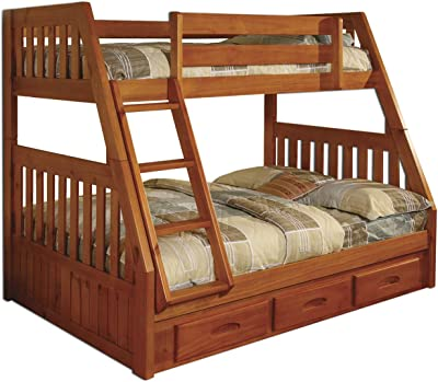 Amazon Com Columbia Bunk Bed With 2 Raised Panel Bed Drawers Twin Over Twin Caramel Latte Furniture Decor