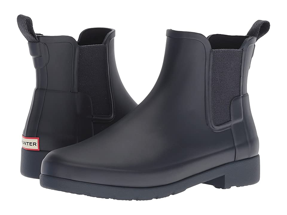 Note: Select your US size. Please be advised  the product and box will display UK  US and Euro sizing. For US sizing  both men's and women's sizing is displayed. Men's sizing is represented by M and women's sizing is represented by F. Save your toes from the rain woes with the Original Refined Chelsea boot. Vulcanized rubber upper in a slimmer construction. Pull on construction with side goring. Round toe. Quick dry woven nylon lining. Multi-layer cushioned sponge insole. Traditional calendared natural rubber sole. The brand advises that a white wax film may appear on the surface of the rubber boots and that it can be wiped off with a damp cloth. This blooming effect is not a defect. Blooming is caused when the boots are exposed to extreme temperatures or temperature swings and the wax helps prevent the rubber from weathering. Imported. Measurements: Heel Height: 1 in Weight: 1 lb 2 oz Circumference: 10 1 2 in Shaft: 5 in Product measurements were taken using size 8  width M. Please n