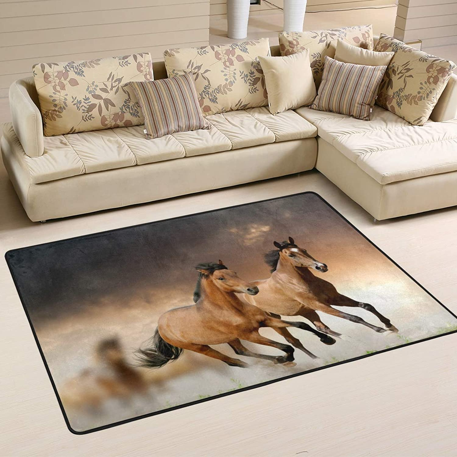 Area Rugs Doormats Horse Running Soft Carpet Mat 6'x4' (72x48 Inches) for Living Dining Dorm Room Bedroom Home Decorative