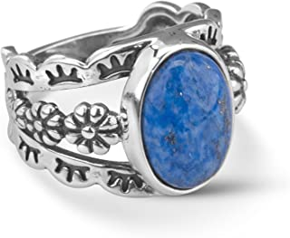 American West Sterling Silver Blue Denim Lapis Gemstone Floral Concho Motif Wide Ring Size 05 to 10