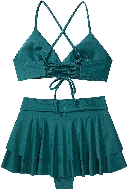 TTAO Women's Two Piece Crisscross Spaghetti Strap Swimsuit Tankini Bra Top with Skirt Backless Beachwear Green Large