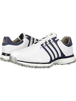 아디다스 남성 골프화 adidas Golf Tour360 XT Spikeless,Footwear White/Collegiate Navy/Gold Metallic