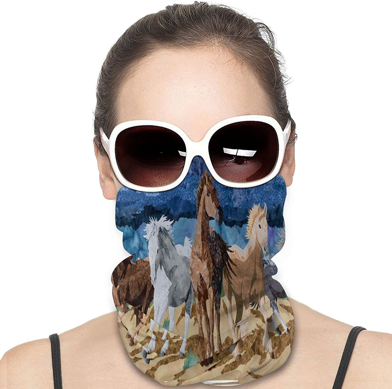Running Horses in The Storm Round Neck Gaiter Bandnas Face Cover Uv Protection Prevent bask in Ice Scarf Headbands Perfect for Motorcycle Cycling Running Festival Raves Outdoors