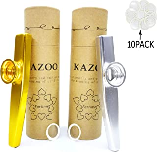 Fartime Gold and Silver Exquisite Aluminum Alloy Kazoo With 5 Kazoo Flute Diaphragms And A Beautiful Gift Box-Musical Instruments. (gold and silver)