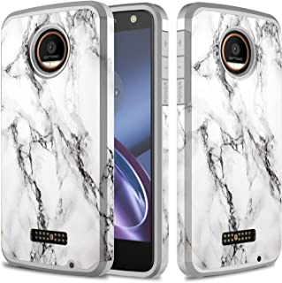 Townshop Moto Z Force Droid Case, Marble Design Hard Impact Dual Layer Shockproof Bumper Case for Motorola Moto Z Force/Moto Z Force Droid