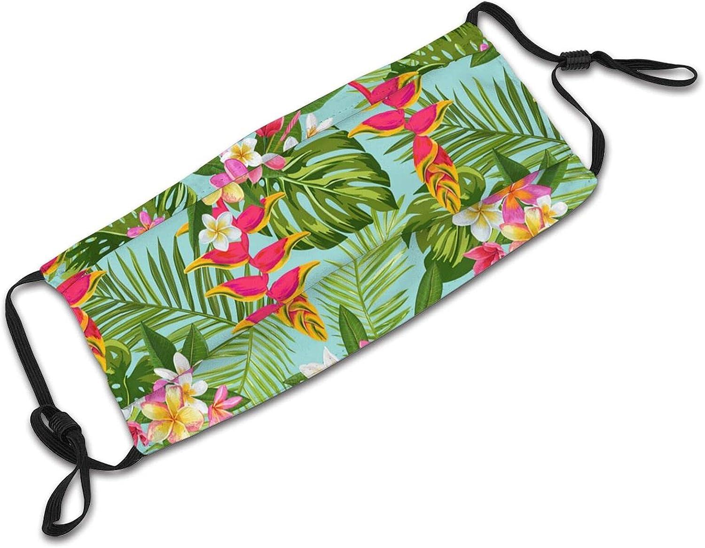 Colorful Hawaiian Floral Face Mask,Breathable Adjustable Balaclavas Dustproof Scarf for Men Women Kids