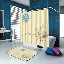 Epinki Polyester Bathroom Curtain Set Beige Flower Durable Shower Curtain with 12 Hooks Size 150x180CM Shower Curtains in ...