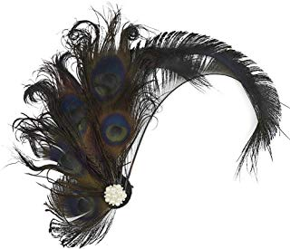 Song Qing Fascinator 1920s Peacock Feather Flapper Headdress Wedding Hair Clip Party Headwear