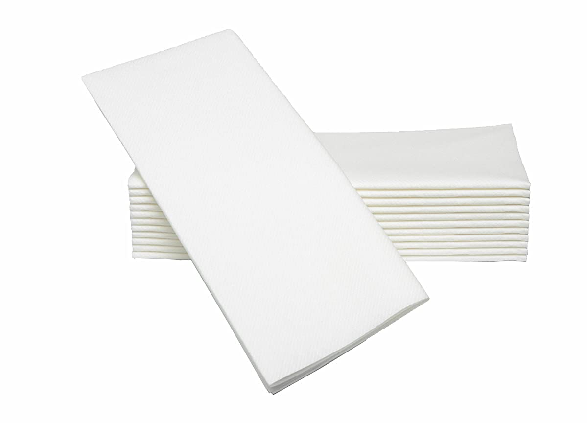 """Simulinen Dinner Napkins –White – Decorative Cloth Like & Disposable Large Napkins – Soft, Absorbent & Durable (19""""x17"""" – Box of 60)"""