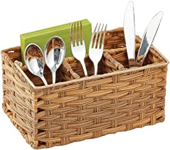 mDesign Plastic Woven Cutlery Storage Organizer Caddy Tote Bin Basket for Kitchen Table, Cabinet, Pantry - Holds Forks, Kn...