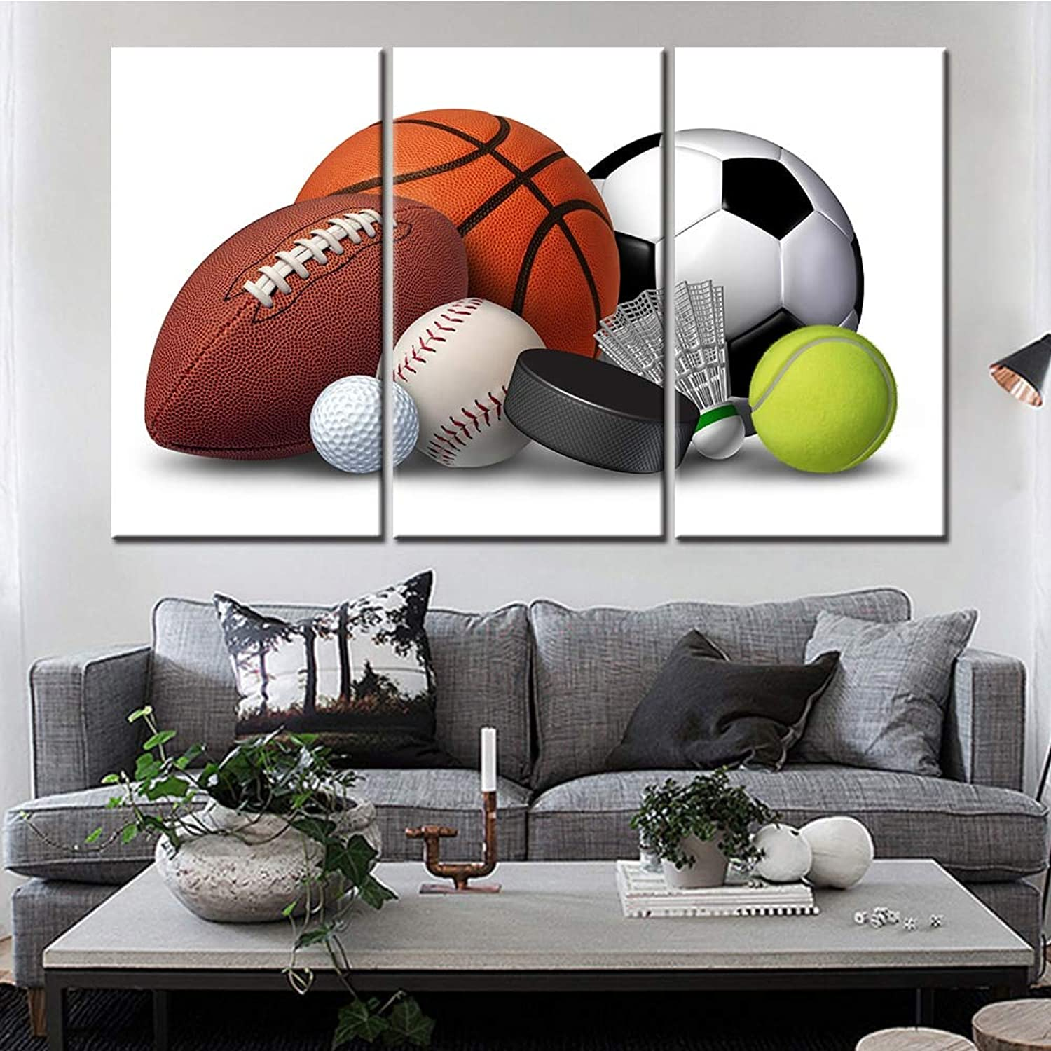 Anncus Modern Canvas Painting Wall Art Picture Home Decor 3 Pieces Basketball Rugby Football Sports Living Room HD Printed Poster Frame  (Size (Inch)  30cmx50cmx3pcs, color  Frame)