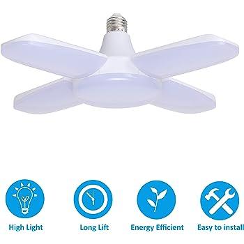 E27 5 Blades LED Work Shop Garage Lights Deformable Ceiling Light Fixture Lamp