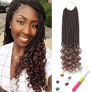 Senegal Twist Curly Goddess Crochet Hair Synthetic Hair Extension Senegalese Twist Hair Crochet Braids 18inch 6Packs 30Strands/Pack (18inch, T1B/30)