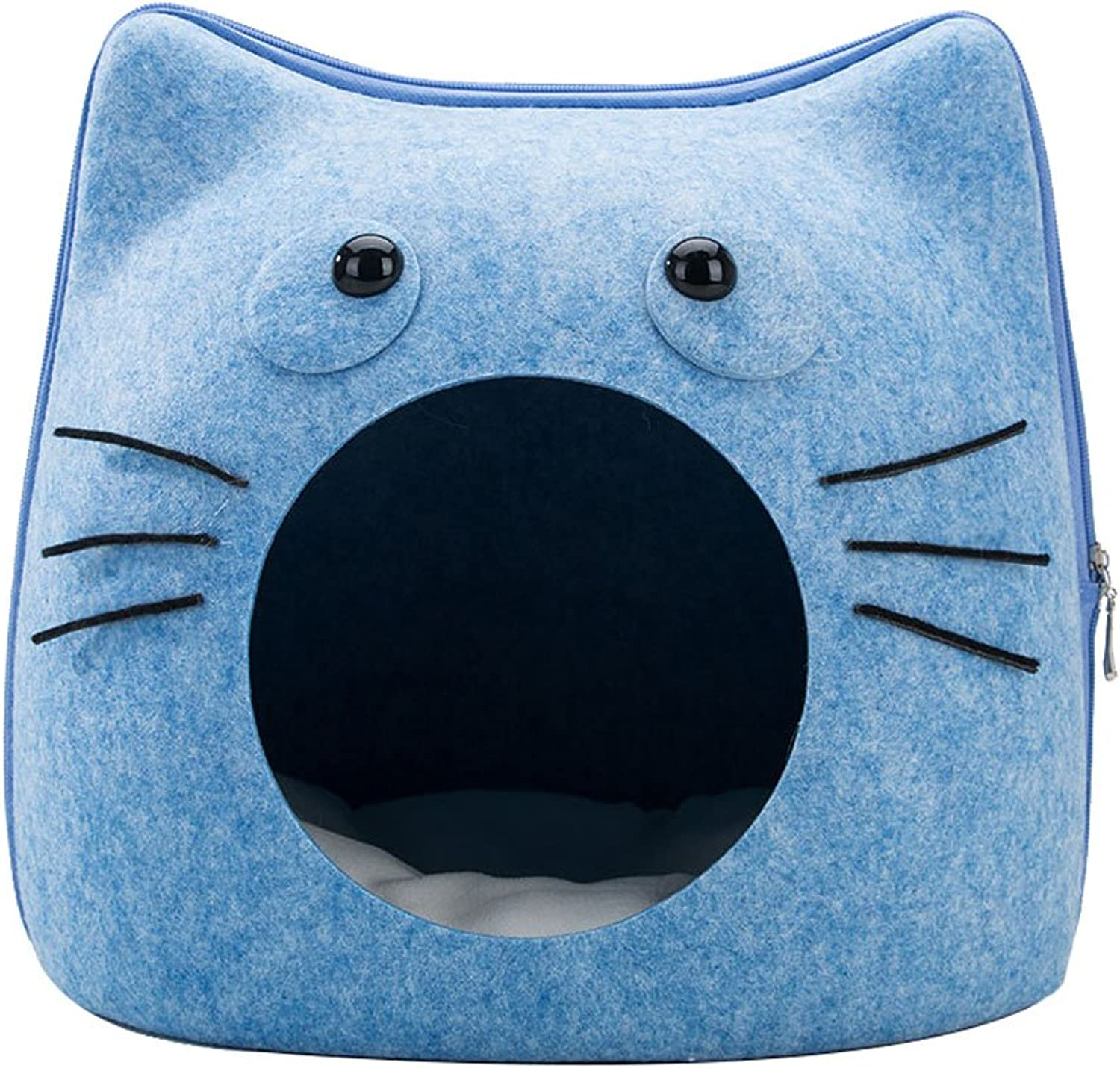 Pet harem Felt Cat Litter Kennel Cat Supplies Four Seasons Universal Removable Pet Litter bluee