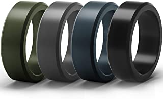 ThunderFit Silicone Rings for Men 4 Rings / 1 Ring - Flat Top Angled Edge Rubber Wedding Bands 9.8mm Wide - 2mm Thick