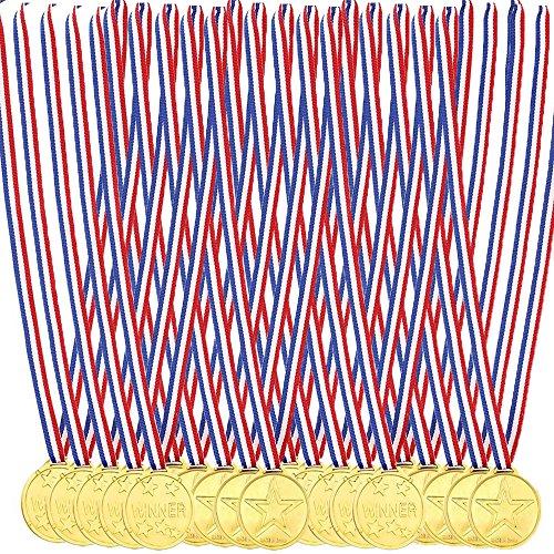 Eizur Goldmedaillen 20 Packung Kunststoff Medaillen Gewinner Medaillen Kindergeburtstag für Kinder Sport Party, Wettbewerbe by