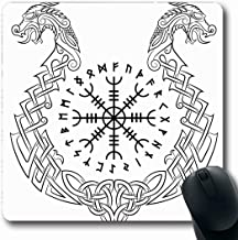 Ahawoso Mousepads for Computers Viking Norse Aegishjalmur Helm Awe Terror Icelandic Witchcraft Vintage Nordic Pattern Odin Iceland Oblong Shape 7.9 x 9.5 Inches Non-Slip Oblong Gaming Mouse Pad