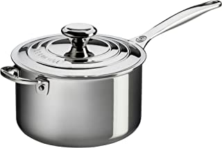 Le Creuset Tri-Ply Stainless Steel Saucepan with Lid and Helper Handle, 4-Quart