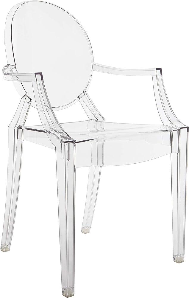 Kartell louis ghost, sedia in policarbonato trasparente o colorato in massa, set da 2 pezzi 4852/B4