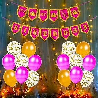 Party Propz Baby Girls Half Birthday Happy Birthday Banner Metallic Balloons Decorations Kit Combo- 27Pcs for Girl Kids Ba...