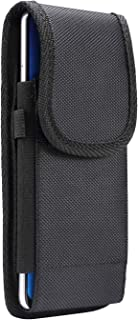 Outdoor Black Velcro Phone Case,Under 6.9-inch Oxford Nylon Flip Cover Card Slot Wallet Case Phone Protective Pouch Holster (6.4-6.9