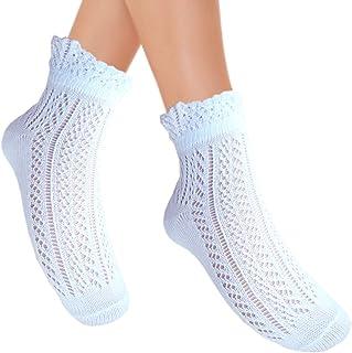 JHosiery, Mujer Pointelle Algodón Corto Calcetines Con con Volantes Top