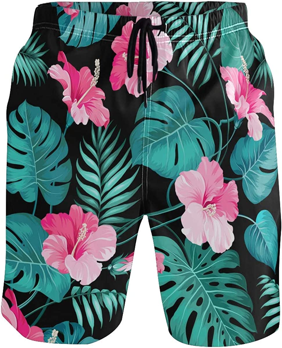 Pink Flower Leaf Mens Swim Trunks Quick Dry Board Shorts Summer Beach Short with Pockets S