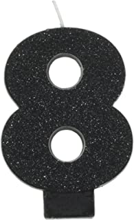 amscan Birthday Celebration, Numeral #8 Glitter Candle, Party Supplies, Black, 3 1/4