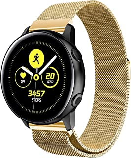 YUANHONG Wangy Milanis Magnetic Stainless Steel Mesh Wrist Strap WatchBand for Galaxy Watch Active 20mm (Black) (Color : Gold)