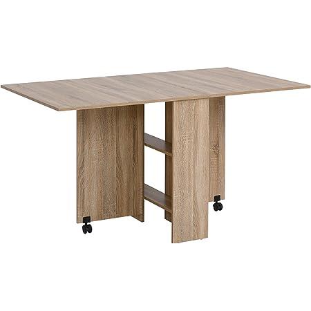 Table pliante de cuisine salle à manger amovible sur roulettes 140L x 80l x 74H cm 2 étagères intégrées panneaux particules coloris chêne clair