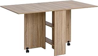 Table pliante de cuisine salle à manger amovible sur roulettes 140L x 80l x 74H cm 2 étagères intégrées panneaux particule...