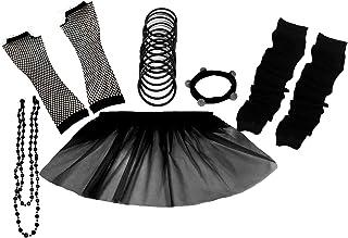 A-Express 80er Damen Neon Tütü Rock Ebene Beinstulpen Handschuhe Halskette Tüll Fluo Ballett Verkleidung Party Tutu Rock Kostüm Set (36-44, Schwarz)