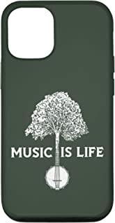 iPhone 12/12 Pro Music is Life - Vintage Banjo & Tree Distressed Musician Case