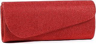 Damara Schräg Abdeckung Shimmert Damen Clutch Abendtasche,Rot