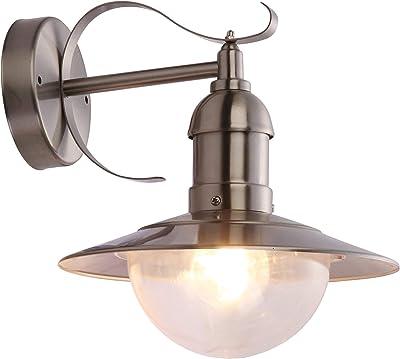 Lampe extérieure acier affiné, polycarbonate, clair IP44, LxH:280x270, excl. 1xE27 60W 230V