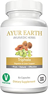 Pure Triphala Powder in Vegetarian Capsules - Ayurvedic Triphala Tablets - Natural Digestion & Colon Support Supplement - Amalaki, Bibhitaki and Haritaki Supplements - 30 Day Supply (60 Capsules)