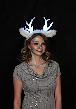 elope White Light-up Deer Faun Antler Horns with Ears Cosplay Costume Headband for Adults and Kids