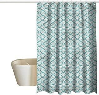 Denruny Shower Curtains for Bathroom Ruffles Beach,Narrow Striped Circular,W48 x L84,Shower Curtain for Small Shower stall