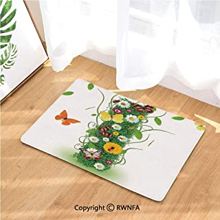Outdoor Indoor Entrance Doormat Nature Themed Alphabet Element Green Foliage Daisies Butterflies Capital I Easy Clean, Entryway Rug,Front Doormat Inside Outside Non Slip (15.7