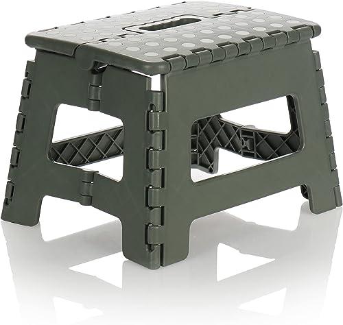com-four® Marchepied Pliable avec Picots en Caoutchouc - Tabouret Pliant Portable, Charge jusqu'à 100 kg - Escabeau P...