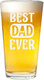 Veracco Best Dad Ever Bowtie Beer Glass Pint Funny Birthday Gift Father's Day Gift For Dad Grandpa Stepdad (Beer Glass)