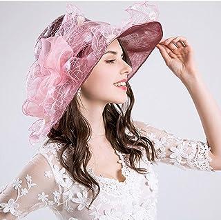 e06266f7569495 Aolvo Women's Organza Church Derby Fascinator Hat Kentucky Tea Party  Wedding Cap UPF 50 Oversized Sun