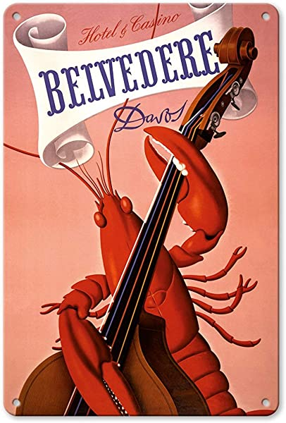 Bruyu5se Aluminum Sign Metal Sign 7 X 10 Vintage Tin Sign Davos Switzerland Lobster Musician Playing A Cello Grand Hotel Casino Belv D Re Retro Sign