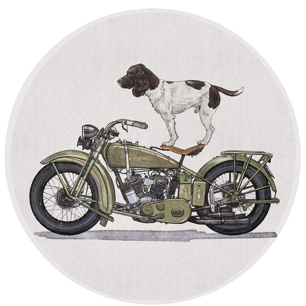 バンジョー大いにくびれた玄関マット バスマット トイレマット 丸型 犬 バイク マット 直径60cm 足ふきマット 円形 浴室マット 滑り止め フカフカ 防音 ラグマット 洗える おしゃれ