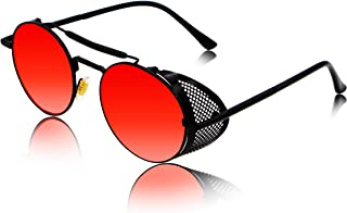 100% UV protected Fashion Unisex sunglasses (IP-STEAMPUNK) (Medium Size) (Black,Silver Mercury,Clear,Yellow,Red,Ocean Blue,Brown)